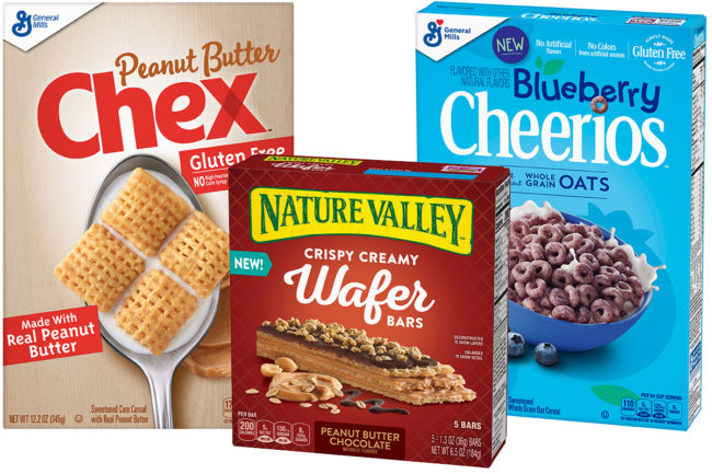 General Mills cereals, bars