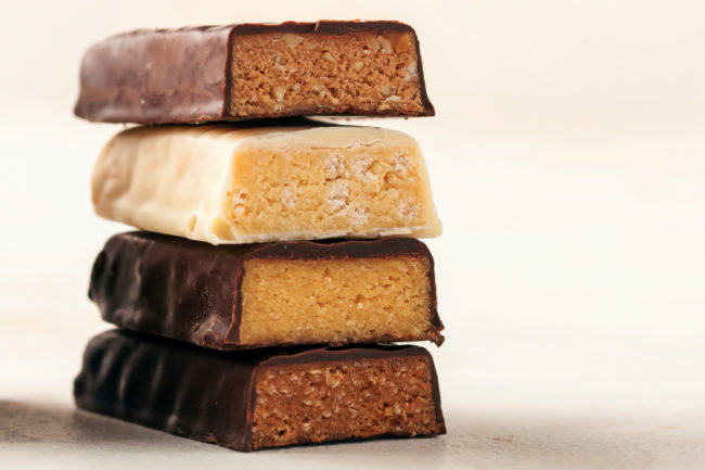 Stack of nutrition bars