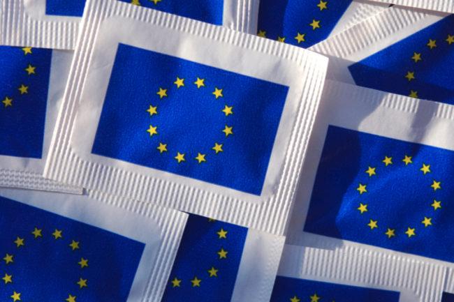 European flag sugar packets