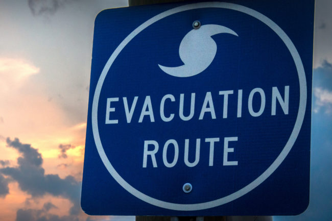 mandatory evacuation sign hurricane Dorian Port Wentworth
