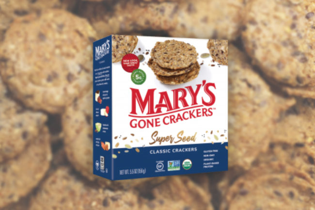 Mary's gone crackers new packcaging highlights plant-based protein rich non-G.M.O. vegan organic ingredients