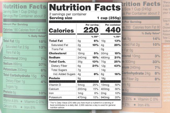 FDA dual column Nutrition Facts labeling