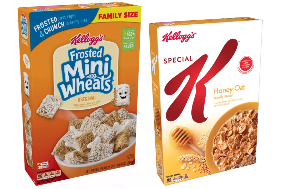 Kellogg's Frosted Mini Wheats and Special K Honey Oat Cereal