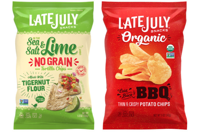 Late July grain-free tortilla chips and organic potato chips