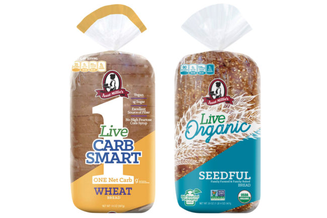 Aunt Millie's Live Carb Smart and Live Organic bread