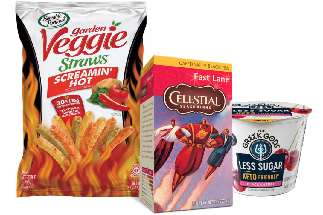 Hain Celestial new products: highly caffeinated Celestial Seasonings tea, keto-friendly Greek Gods yogurt and Screamin' Hot Sensible Portions Veggie Straws