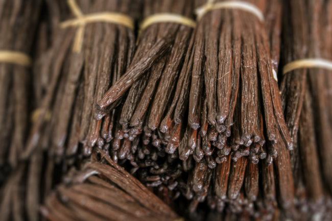 Bundles of Madagascar vanilla beans