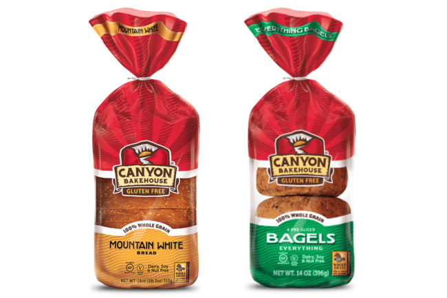 Canyon Bakehouse Mountain White bread and Canyon Bakehouse Everything bagels