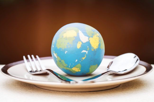 Globe on plate with fork and spoon