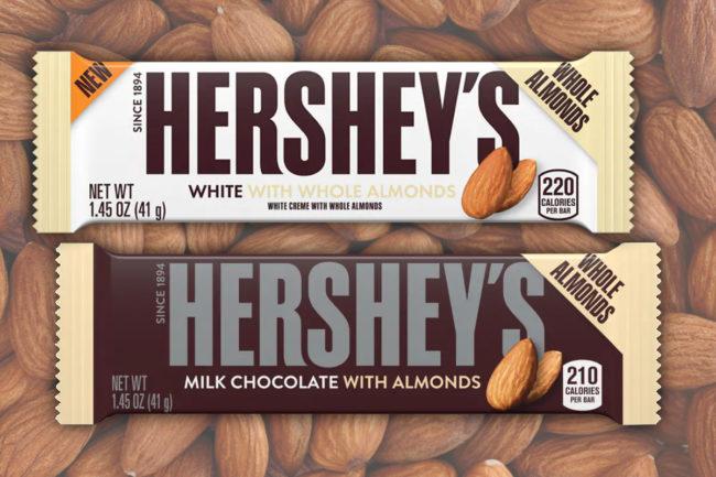 Hershey's chocolate bars with whole almonds