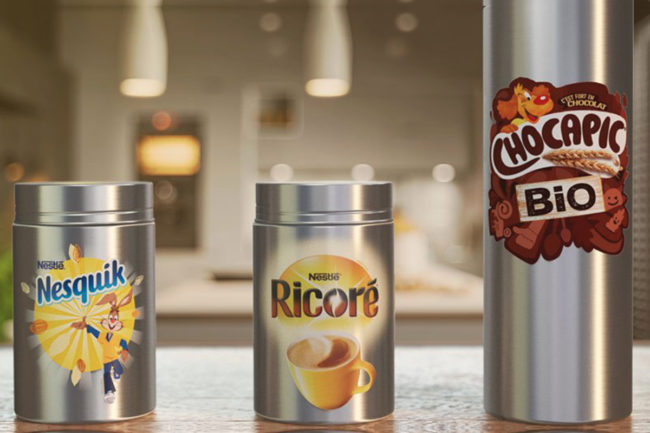 Nestle reusable containers for its Nesquik cocoa powder, Ricore chicory and coffee drink, and Chocapic Bio cereals