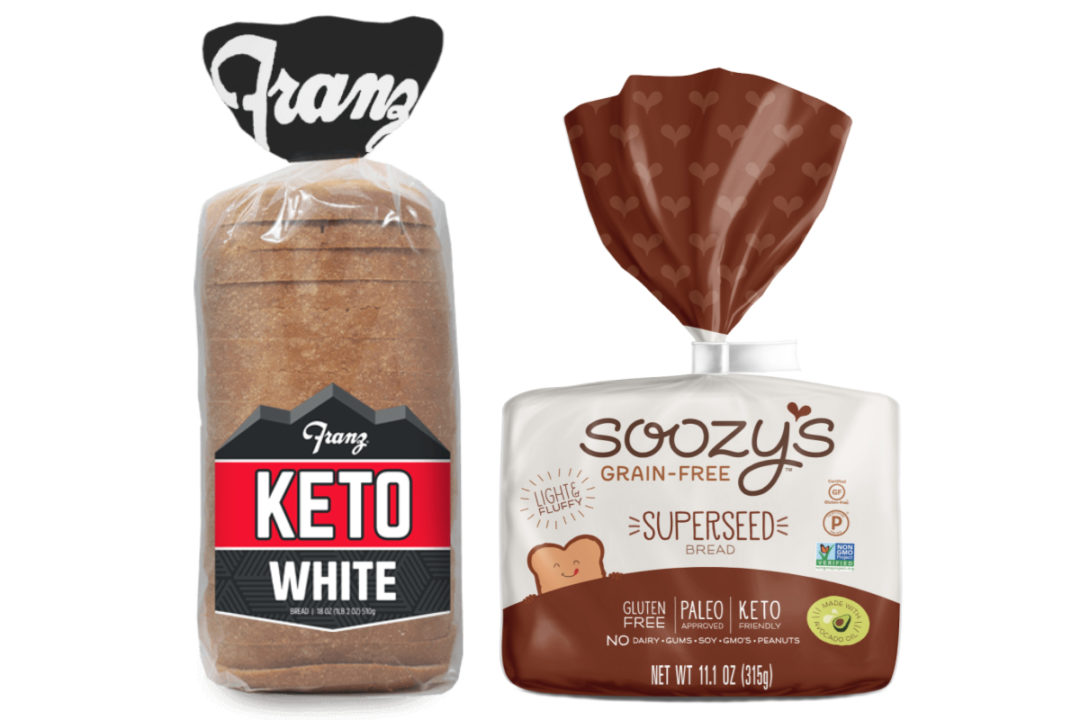 Franz Bakery Keto White bread and Soozy's Grain-Free Superseed bread