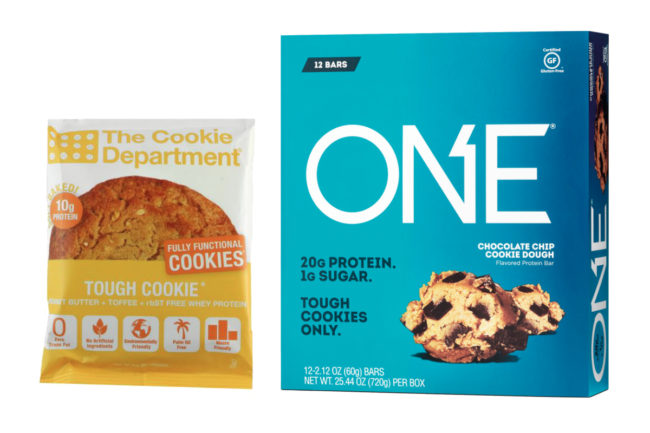 The Cookie Department Tough Cookie and One Brands Chocolate Chip Cookie Dough bars