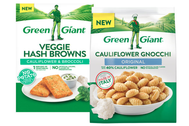 Green Giant cauliflower gnocchi and cauliflower hash browns, B&G Foods, Inc.