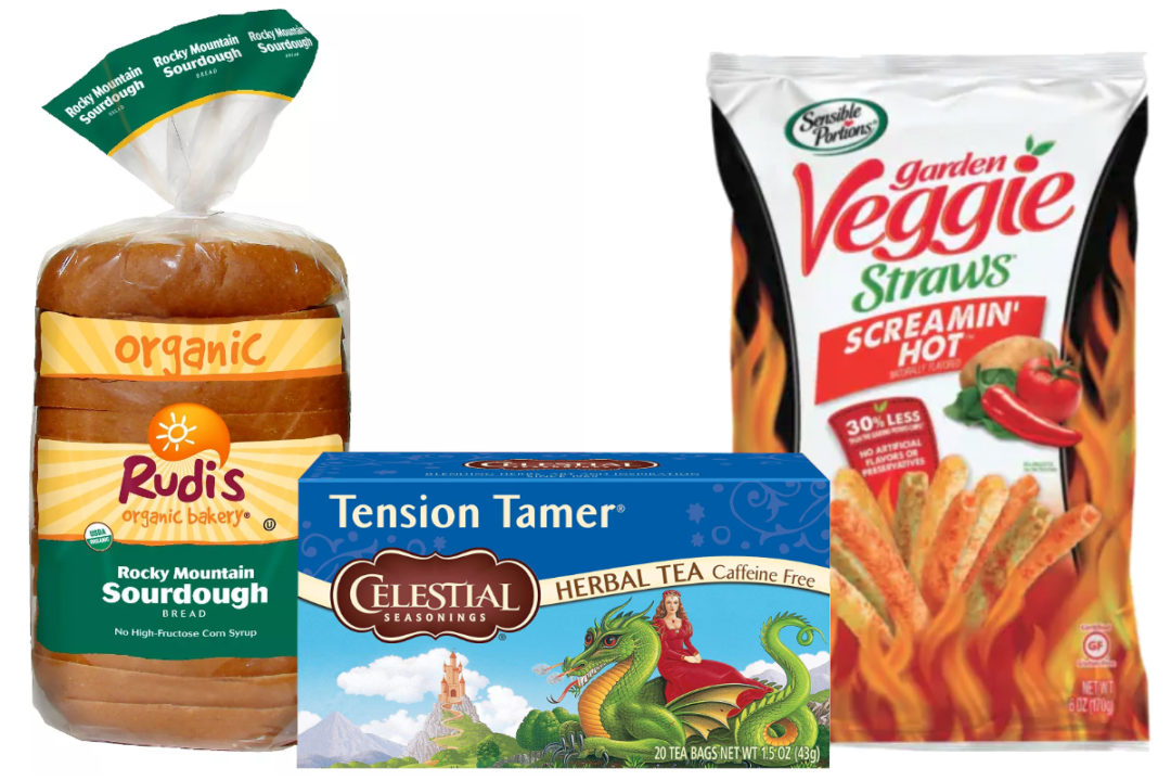 Hain Celestial products - Rudi's bread, Celestial Seasonings tea, Screamin' Hot Sensible Portions Veggie Straws