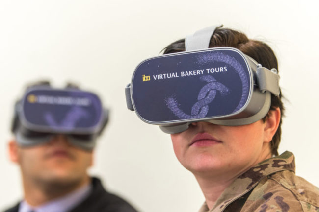 Military service members doing a virtual bakery tour