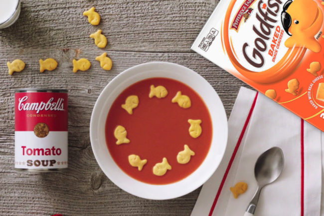 Campbell Soup and Goldfish crackers