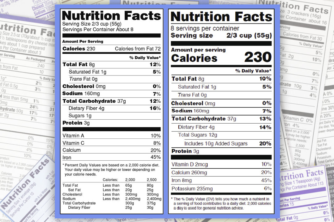 Old vs new nutrition facts label