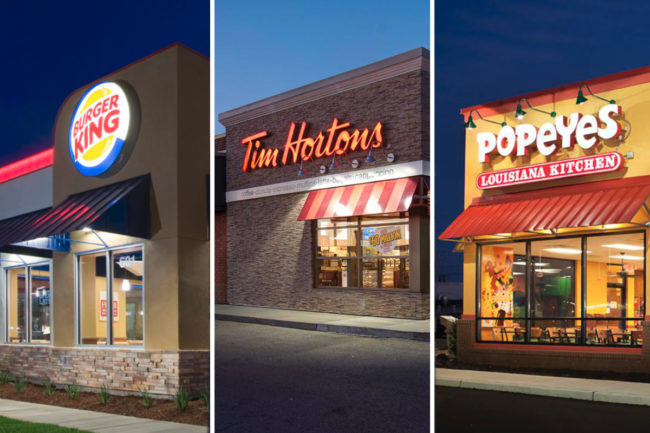 Restaurant Brands International stores, Burger King, Tim Hortons and Popeyes exterior