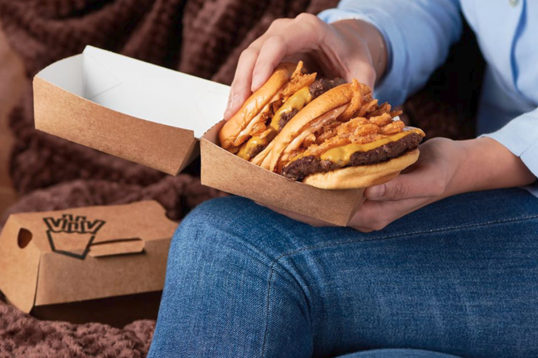 Eating Shake Shack to go at home