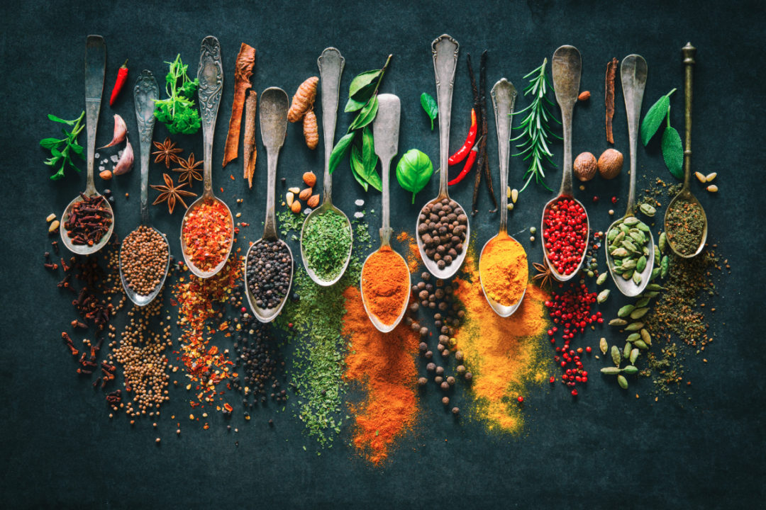Spoons full of spices and flavors