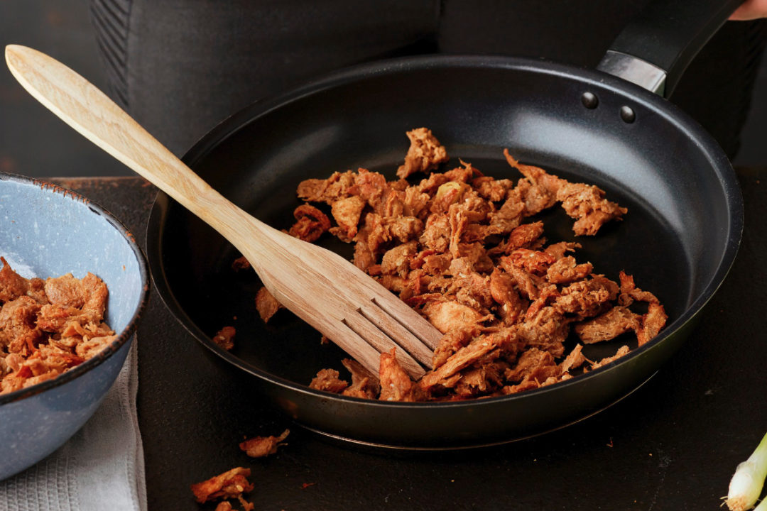 Pulled Oats frying in pan