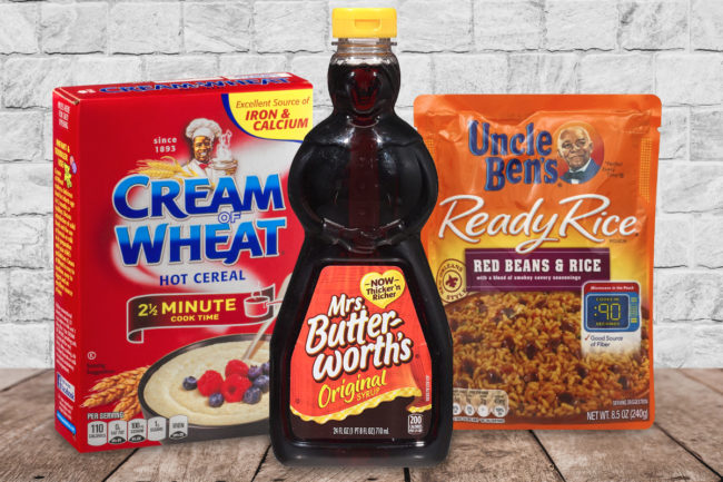 Cream of Wheat, Mrs. Butterworth's and Uncle Ben's packaging