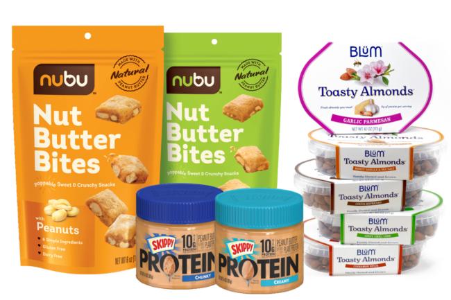 Nubu Nut butter bites, Skippy protein peanut butter, Blum toasty almonds