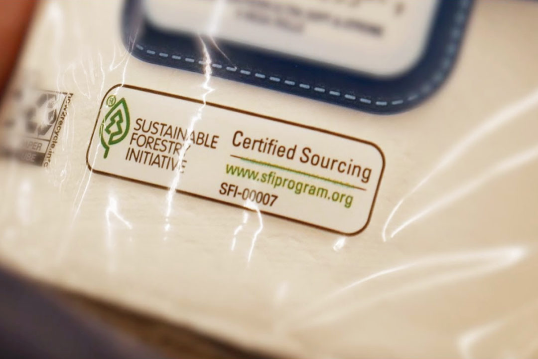Sustainably sourced label