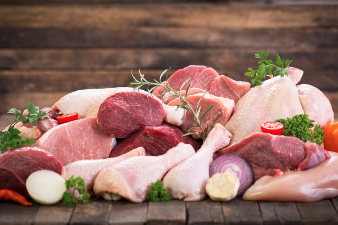 Various cuts of meat and poultry