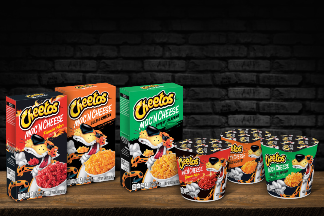 Cheetos Mac N' Cheese single boxes and cups