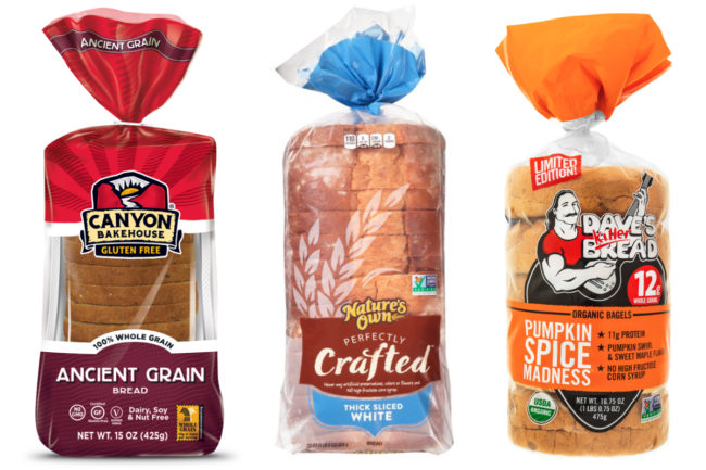 Canyon Bakehouse gluten-free bread, Nature's Own thick sliced white bread, Dave's Killer Bread pumpkin spice bagels