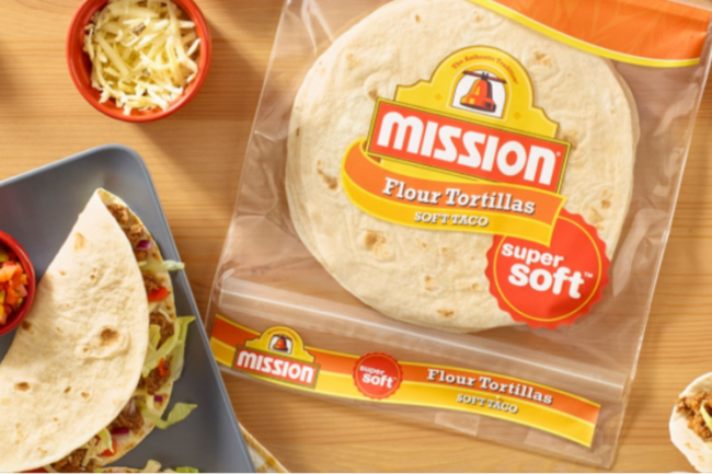 Bag of Mission Foods flour tortillas with tacos