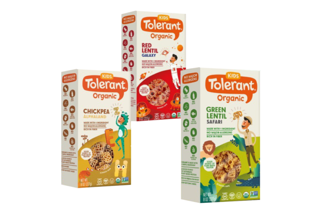 Tolerant organic pasta for kids