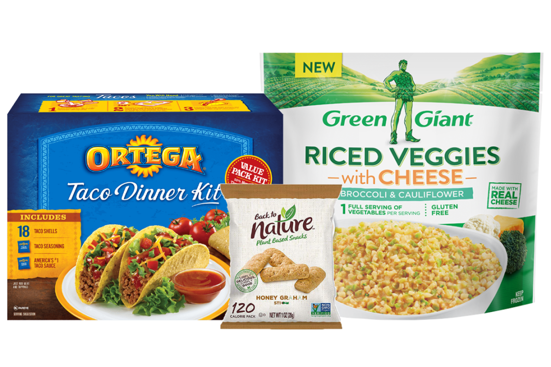Ortega taco shells, Back to nature snacks and Green Giant riced cauliflower from B&G Foods