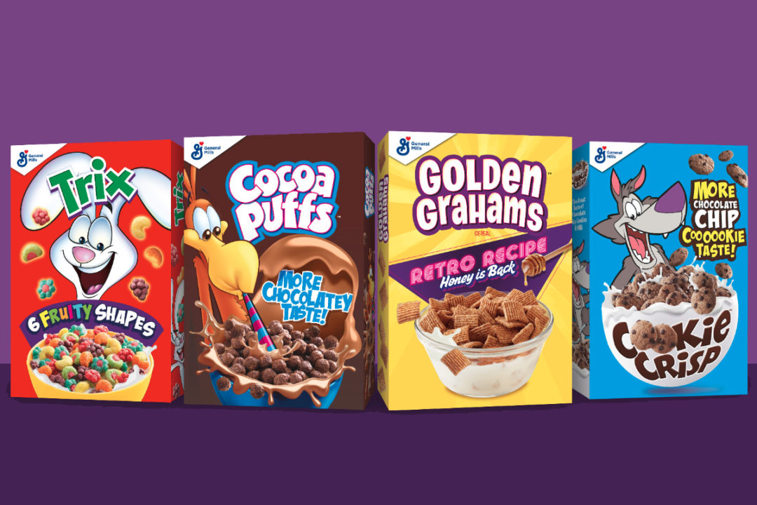 General Mills retro Cocoa Puffs, Golden Grahams, Cookie Crisp and Trix cereals