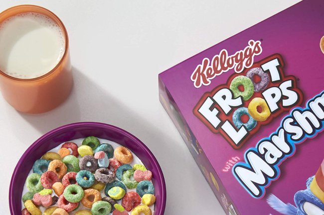 Froot Loops cereal box and bowl