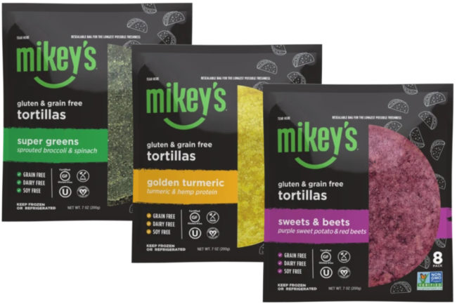 Mikeys Sweets & Beets, Golden Turmeric and Super Greens tortillas