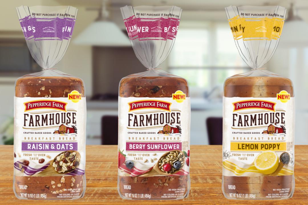 Pepperidge Farm Farmhouse Breakfast Bread in raisin & oats, berry sunflower and lemon poppy varieties
