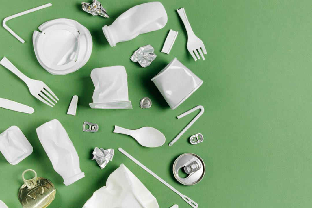 Plastic food packaging waste