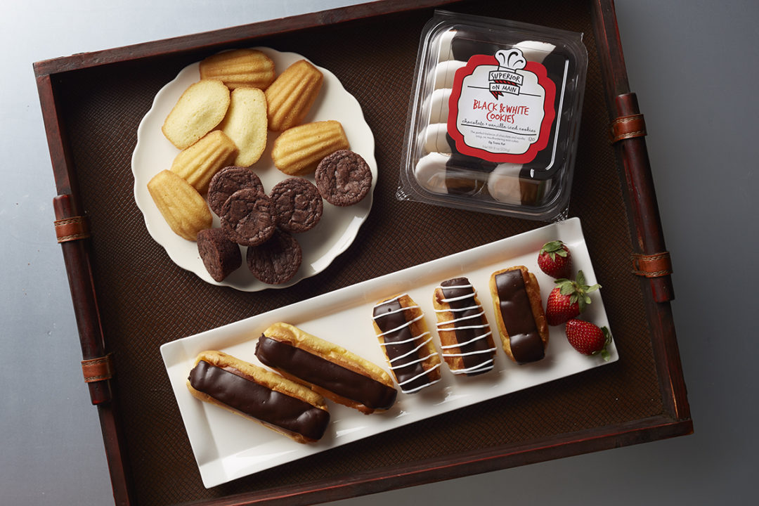Superior on Main branded eclairs, brownies, madeleines and cookies
