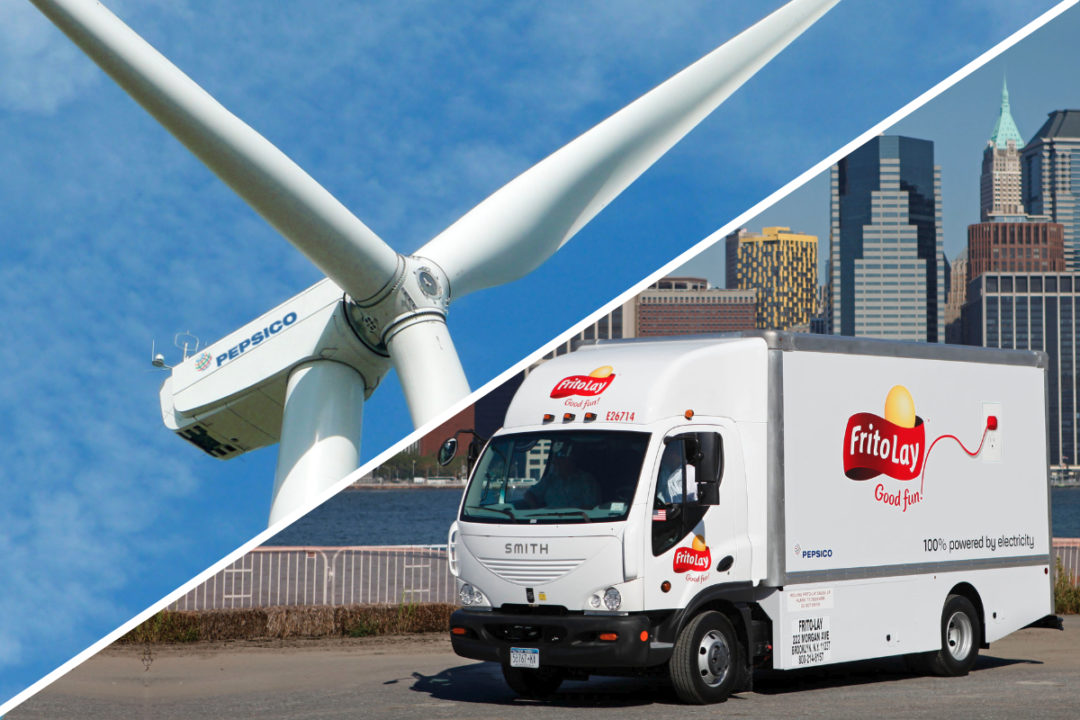 PepsiCo wind power windmill and Frito-Lay electric fleet vehicle