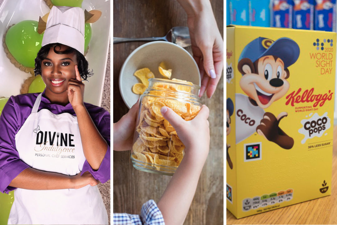 Kellogg Black chef program, fiber-rich snack and cereal box for the sight impaired
