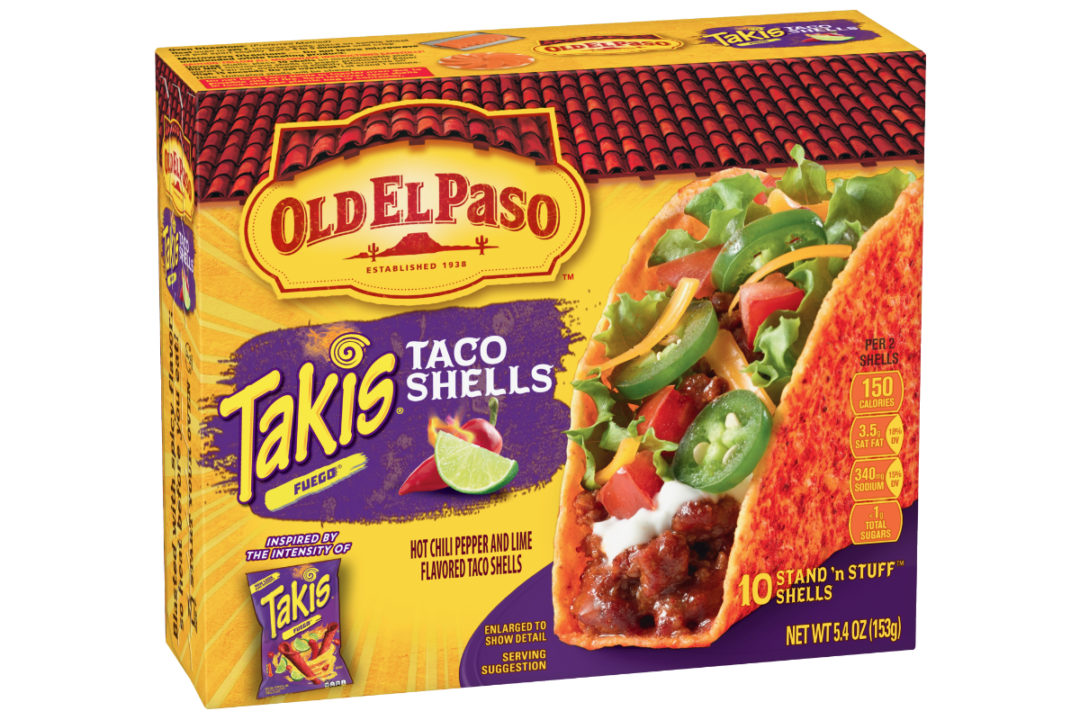 Old El Paso Takis Fuego Hot Chili Pepper and Lime-Flavored Stand 'N Stuff Taco Shells