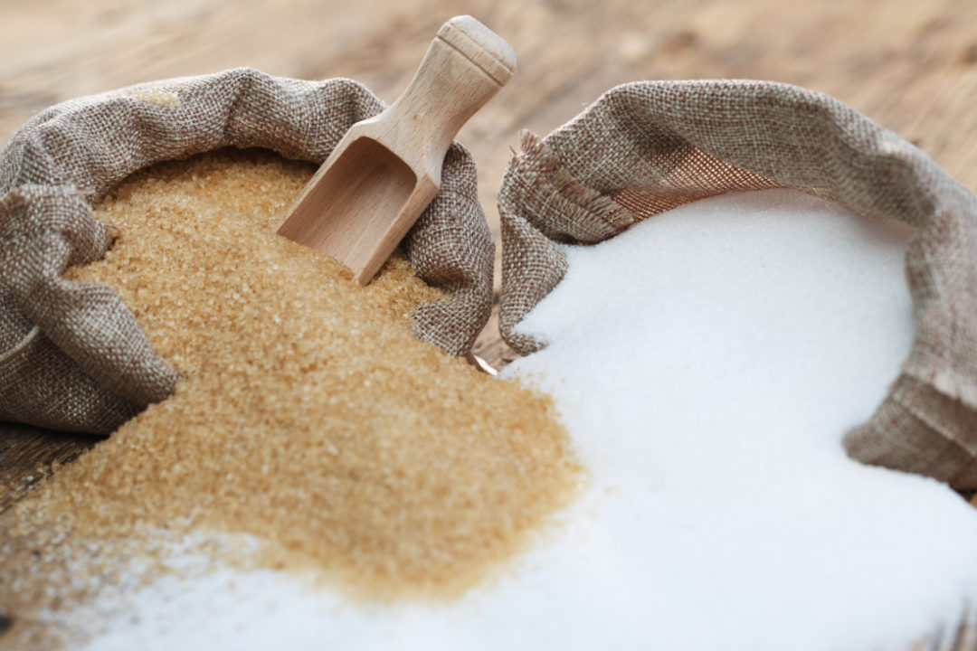 Bags of cane sugar and refined sugar