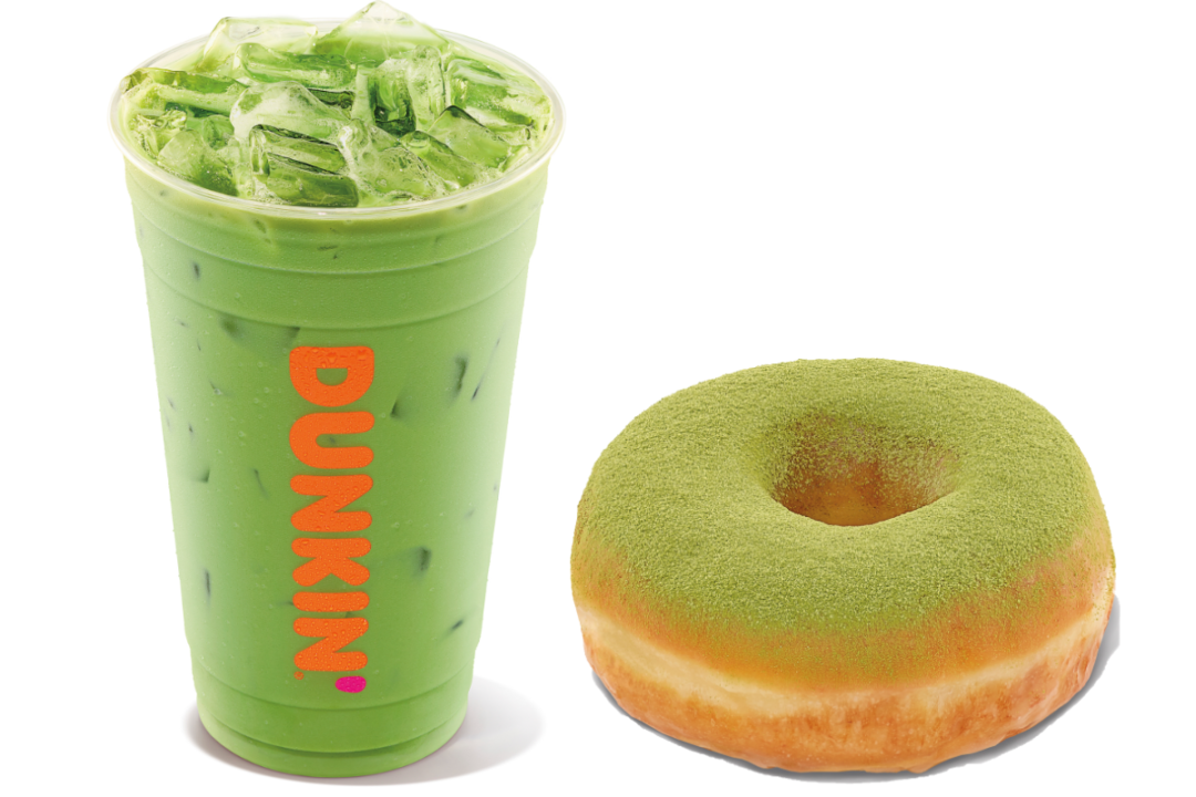 Blueberry Matcha Latte and Matcha Topped Donut from Dunkin'