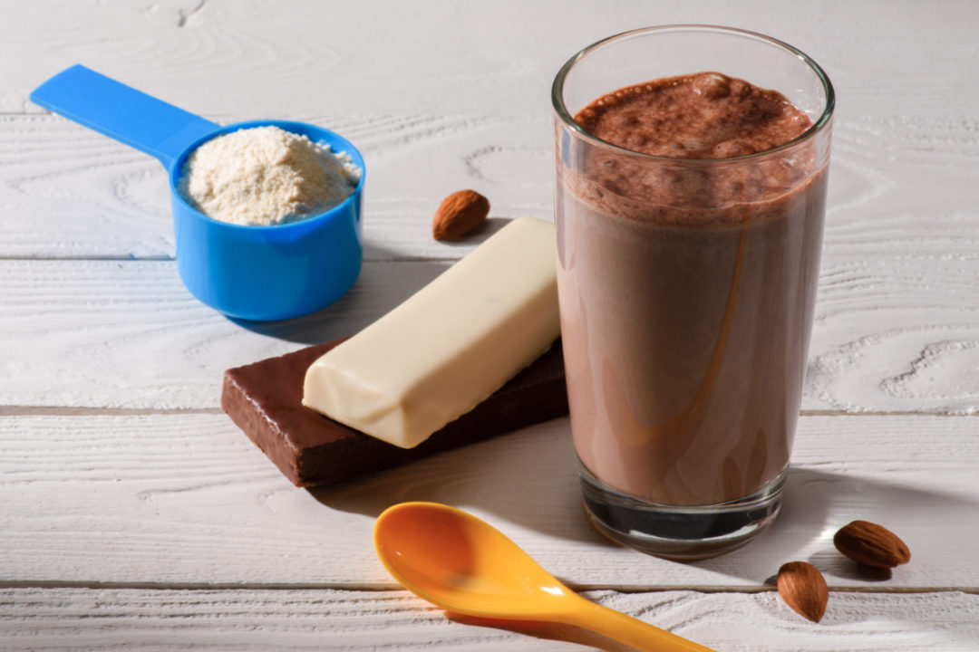 Protein bars, shake and powder