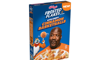 Frosted flakes with crispy cinnamon basketballs lead