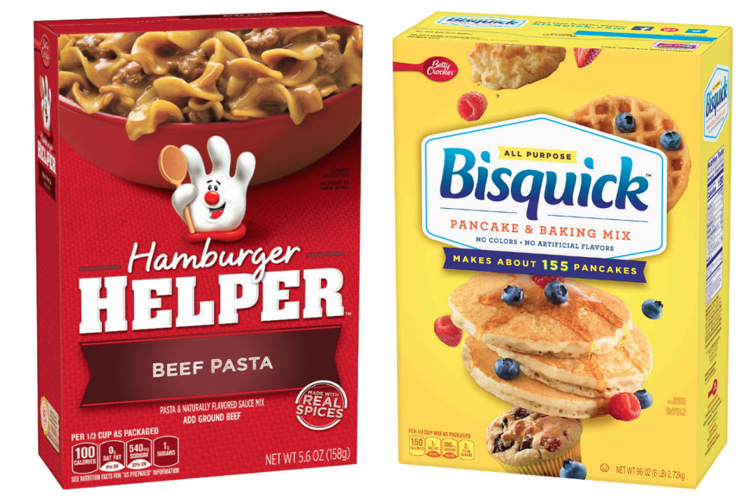 Hamburger Helper and Bisquick products
