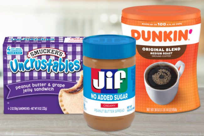 J.M. Smucker products - Uncrustables, Jif peanut butter and Dunkin' coffee